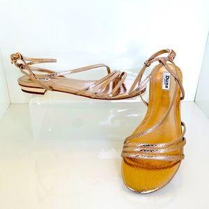 NWT Dune London Nissey Rose Gold Snakeskin Sandal